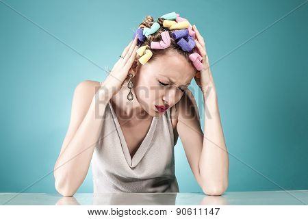 Portrait Of Woman With Headache.