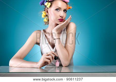 Pretty Girl With Nail Polish.