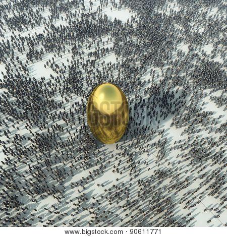 crowd around the golden sphere