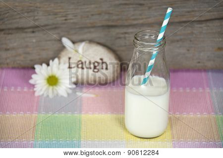 retro milk bottle with straw