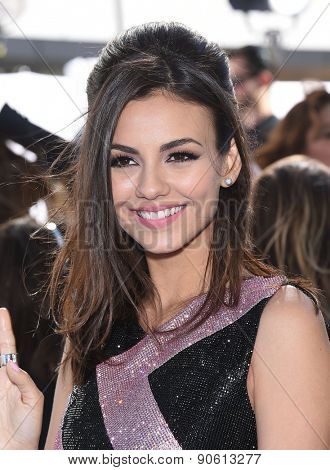 LOS ANGELES - APR 12:  Victoria Justice arrives to the MTV Movie Awards 2015  on April 12, 2015 in Hollywood, CA