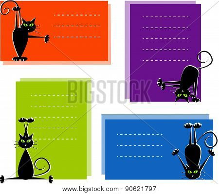 Set of labels with cute black cats