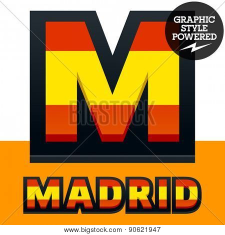 Vector set of Spain flag alphabet. File contains graphic styles available in Illustrator. Letter M