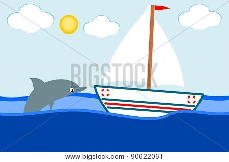 boat in the sea and the smiling dolphin