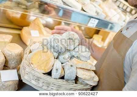 Basket of cheeses