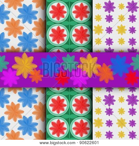 3Different Flower Vector Seamless Patterns And Seamless Strip