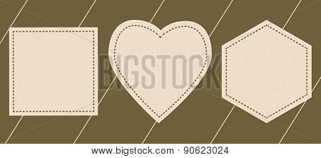Labels In The Form Of  Heart, Polygons,