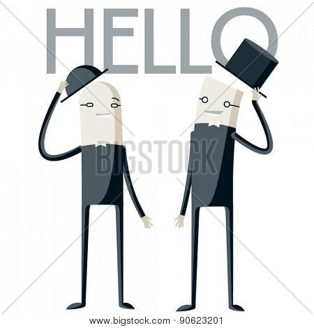Vector illustration of abstract funny characters. Two  polite businessmen say hello each other
