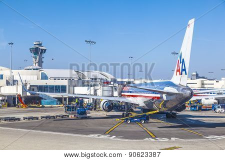 American Airlines Jet Boeing 767  Parking On Gate Position