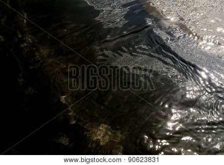 Dark Water Swell And Sunlight Refection