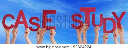People Hands Holding Red Word Case Study Blue Sky