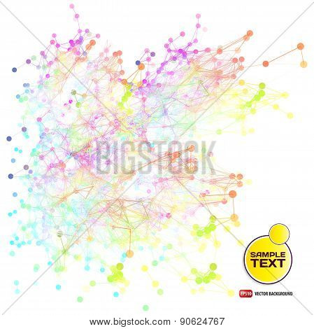 Abstract background with dots and lines on theme digital technol