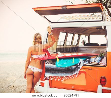 Beautiful Blond Surfer Girl with Classic Bus on the Beach at Sunset, Beach Culture Lifestyle