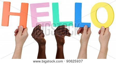 Multi Ethnic Group Of People Holding The Word Hello