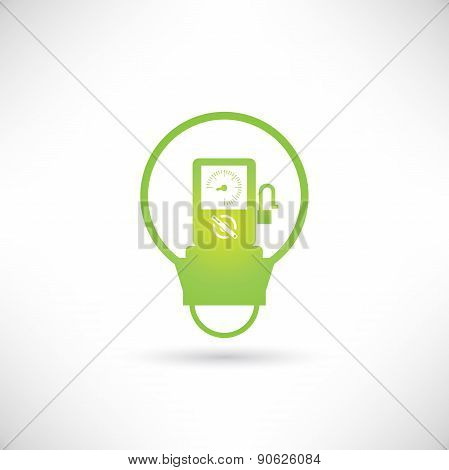 gas station pump inside green light bulb