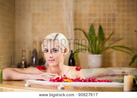Gorgeous woman in jacuzzi