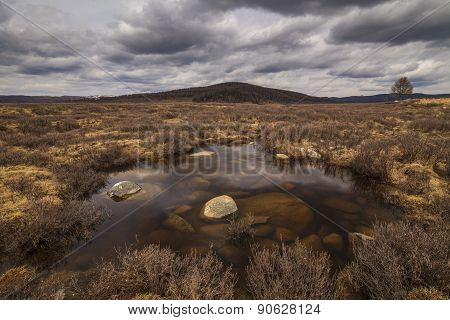 Marshland On The Background Of Mountain Scenery And The Rain Clouds.