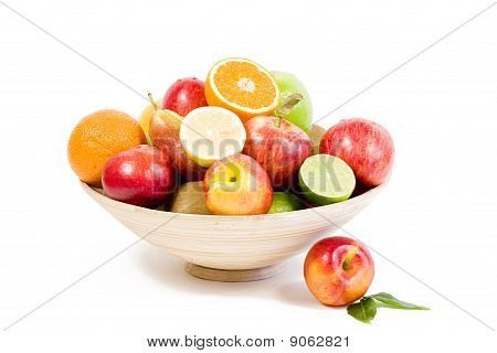 bamboo plate of fresh fruits
