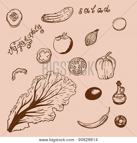 Retro Pattern Narisovanna Vegetables And Vegetable Oil
