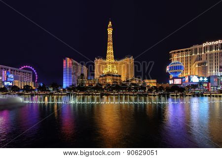 Las Vegas, NV - CIRCA MARCH 2015 - Night scene along The Strip in Las Vegas Nevada, circa March 2015