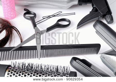 Composition Hairdressing Tools Isolated Top View
