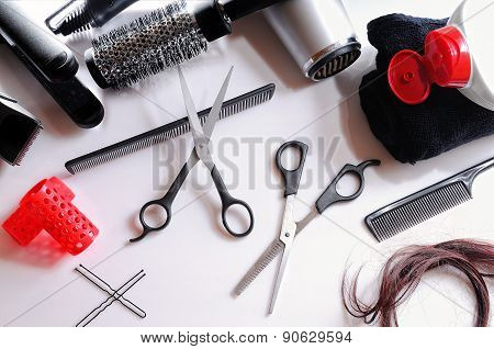 Composition Hairdressing Tools Isolated Top