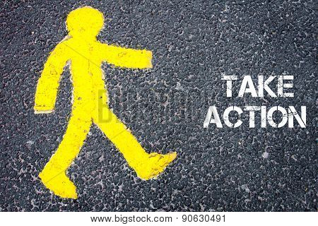 Yellow Pedestrian Figure Walking Towards Take Action