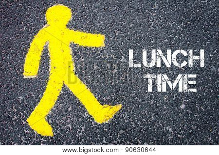Yellow Pedestrian Figure Walking Towards Lunch Time