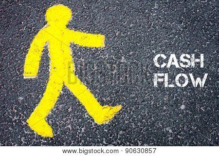 Yellow Pedestrian Figure Walking Towards Cash Flow