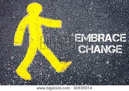Pedestrian Figure Walking Towards Embrace Change
