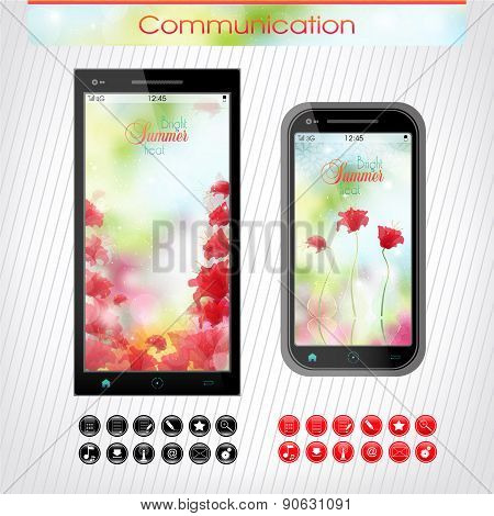 Cell Phone With A Bright Floral Headband. The Icons To The Phone