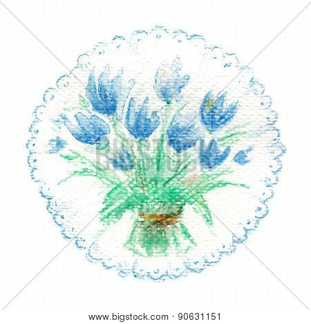 Watercolor bouquet of blue tulips