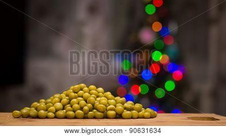 Peas On A Cutting Board.
