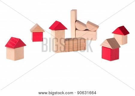 A City Made Out Different Colored Wooden Toy Bricks