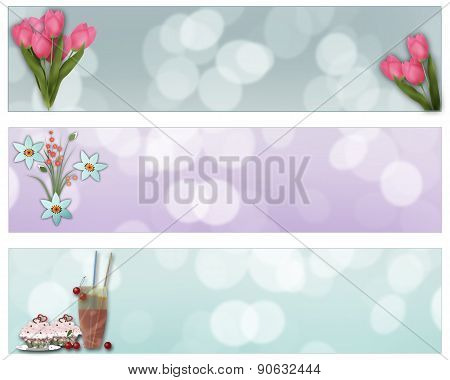Abstract Flowers And Desserts, Brochure Template, Banners Set