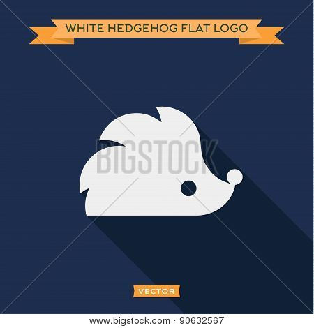 White hedgehog icon into flat, vector logo