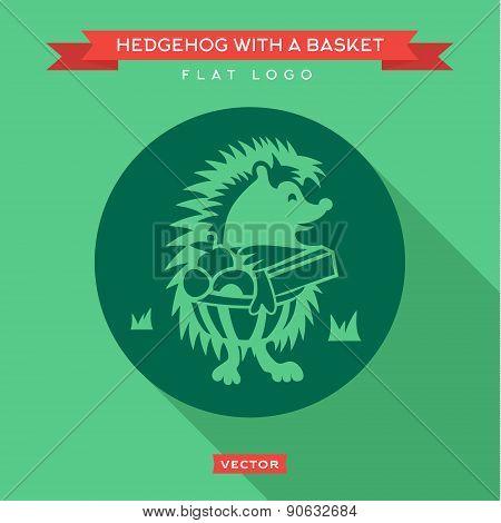 Cute hedgehog basket  grass looking into distance logo vector