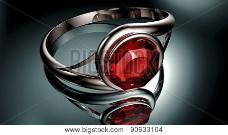 Silver Ring With Red Ruby Stone