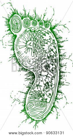 Green footprint vector