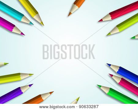 Colour Pencil Lying Over Light Blue Background