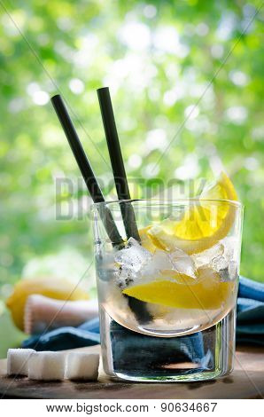 Ice Cold Summer Spirit Refreshment  with Lemon