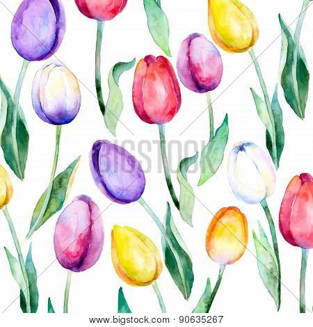 Flower  background. Flower tulips over white. Floral spring Vector pattern.