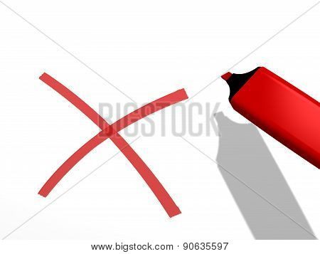 red pen marker and a x rejection sign on a white background