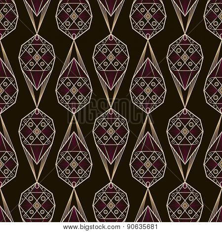 Seamless Antique Deco Lace Pattern Ornament. Geometric Background. Vector Repeating Texture.