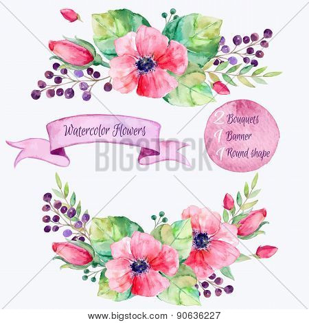 Vector flowers set.Colorful floral collection with leaves and flowers,drawing watercolor.