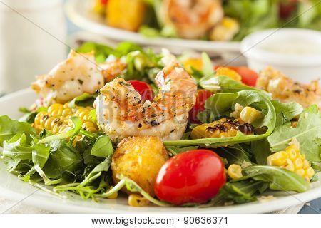 Healthy Shrimp And Arugula Salad With Corn And Tomatoes