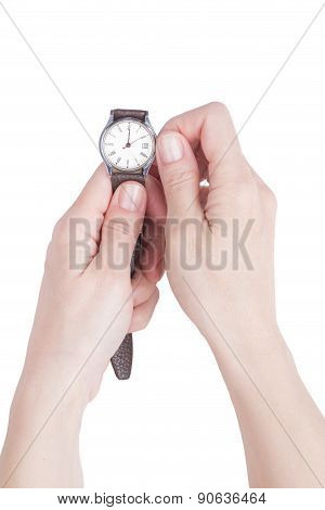 Female Hands Holding An Old Watch