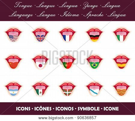 Tongues. Language icons with country flags