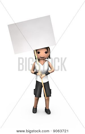 Young White 3D Guy Holding Blank Protest Sign