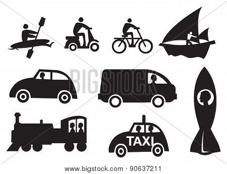 Mode Of Transportation Vector Icon Set